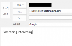 Add Google bookmark via virtual email